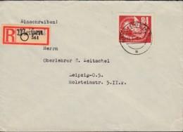 DDR  272, EF, DEBRIA-Blockmarke Auf R-Brief Mit Stempel: Meissen 31.3.1951, R-Zettel Mit Ortsstempel - Briefe U. Dokumente