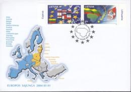 Europa-Ausgabe: LITAUEN 844-845, FDC, Beitritt Zur Europäischen Union, 2004 - 2004