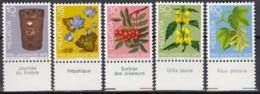 SCHWEIZ 1062-1066, Postfrisch **, Mit Beschreibung Und Pflanzennamen, Pro Juventute: Zierpflanzen Des Waldes 1975 - Unused Stamps
