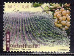 ITALY REPUBLIC ITALIA REPUBBLICA 2012 VINI WINES CANNELLINO DI FRASCATI DOCG USATO USED OBLITERE' - 2011-...: Afgestempeld