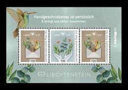 Liechtenstein (dieMarke) 2020 #157/58 (Bl.2) I Think Of You. Flowers. Bird MNH ** - Nuovi