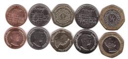 Jordan - Set 5 Coins 1 + 5 + 10 Piastres + 1/4 + 1/2 Dinars 2009 - 2012 UNC - Jordan