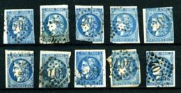 44, 45 Ou 46 - 20c Bleu Cérès Bordeaux - 10 Exemplaires Oblitérés - Tous états - Pour étude. - 1870 Bordeaux Printing
