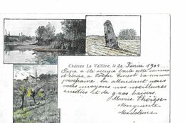 CHATEAU LA VALLIERE  3 VUES COULEURS  MENHIR  VILLAGE  TIRAGE 1900  DEPT 37 - Francia