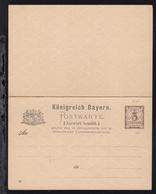 Postkarte Ziffer 3 Pfg./3 Pfg. - Bayern (Baviera)