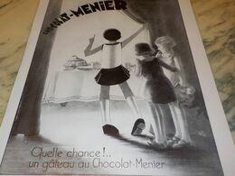 ANCIENNE PUBLICITE GATEAU AU   CHOCOLAT  MENIER 1932 - Afiches