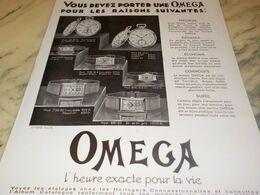 ANCIENNE PUBLICITE PORTER UNE  MONTRE OMEGA 1932 - Juwelen & Horloges