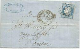N° 60 LOSANGE HP 1° TYPE 17 GARE DE BEUZEVILLE 26 JUIL 1873 LETTRE FECAMP SEINE INFERIEURE - Poststempel (Briefe)