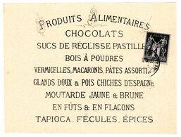 HERAULT CP PRIVE VENTE CHOCOLAT PRODUITS ALIMENTAIRE 1882 1C SAGE MONTPELLIER AVIS PASSAGE MAISON FOUQUES - 1877-1920: Periodo Semi Moderno