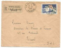 N°974 SEUL LETTRE REC C. PERLE LA GLAGERIE 18.6.1955 MANCHE - Storia Postale