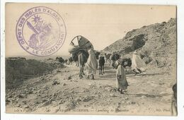 ALGERIE CARTE CARAVANE DE NOMADES + CACHET VIOLET DEPOT DES ISOLES D'ALGER LE COMMANDANT 1915 - Guerra De 1914-18