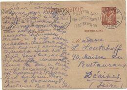 ENTIER 80C IRIS CP MEC KRAG INVERSEE SEMAINE DE LA FRANCE OUTRE-MER 15.22 JUILLET 1941  CANNES 15.VIII.41 ALPES MARITS - Marcofilia (sobres)