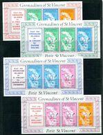 Grenadines Of St Vincent 1976 Maps 2nd Issue - Petit St Vincent - Booklet Pane Set MNH (SG 85a,b,86a & 87a) - St.Vincent & Grenadines