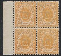 Luxembourg - Armoiries : Yv N°35 En Bloc De 4 + BDF **, Neuf Sans Charnières (MNH). - 1859-1880 Wappen & Heraldik