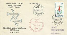 ESPAÑA,  SOBRE CONMEMORATIVO PRIMER  VUELO  MADRID/KOLN   AÑO  1973 - 1971-80 Storia Postale