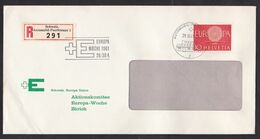 Switzerland: Registered Cover, 1961, 1 Stamp, Europa, CEPT, R-label Mobile Post Office, Automobil (traces Of Use) - Covers & Documents