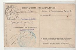 Carte Militaire En Franchise Postale: Service Militaire/ Recrutement /Fontenay Le Comte , Vendée , 1913 - Francia