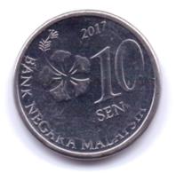 MALAYSIA 2017: 10 Sen, KM 202 - Malesia