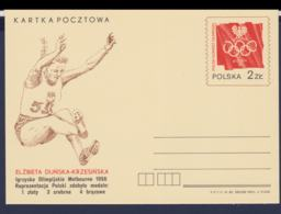 Poland Postal Stationary 1982 Elzbieta Dunska-Krzesinska - Olympic Games Melbourne 1956 - Mint (G58-56) - Verano 1956: Melbourne