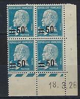 """FR Coins Datés YT 222 """" Pasteur 50c. S. 1F25 Bleu """" Neuf** Du 18.3.26 - ....-1929"""