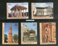 India 2020 UNESCO World Heritage Site III Cultural Architecture Church Temple Stamps 5v - Blocks & Kleinbögen