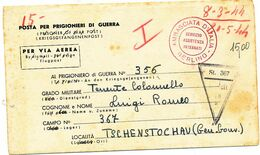 1944 PRIGIONIERI DI GUERRA LETTERA X LA GERMANIA E TIMBRO VIOLA AMBASCIATA D'ITALIA BERLINO SERVIZIO ASSISTENZA INTERNAT - Correo Militar (PM)