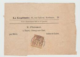 Yv N° 85, / Bande D'Imprimés De 1895 De Bordeaux Pour Civray Sur Cher - Postmark Collection (Covers)