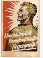DC3269 - WW2 Germany Propaganda Deutschland 2. Weltkrieg - Unerschütterlich Kampfentschlossen Siegesgewiß Soldat REPRO - War 1939-45