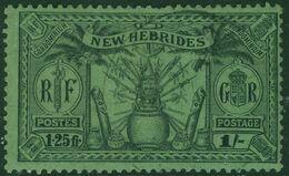 NEW HEBRIDES 1925 KGV 1s (1.25fr.) Black/emerald Used SG 49 - Used Stamps