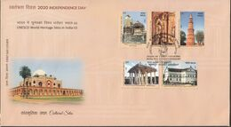 INDIA, 2020, FDC, UNESCO, World Heritage Site III, Set 5 V, Cultural Sites, Architecture, Jabalpur Cancelled - FDC