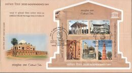 INDIA, 2020, FDC With MS,  UNESCO, World Heritage Site III, Set 5 V, Cultural Sites, Architecture, Jabalpur Cancelled - FDC