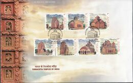INDIA, 2020, FDC, Terracotta Temples Of India, Architecture, Set 7v,  Jabalpur Cancelled - FDC