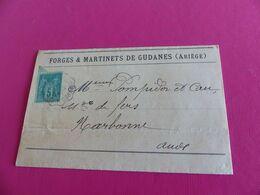 146 - Lettre Type Sage , Forges & Martinets De Gudanes , Ambulant Ax Les Thermes, - 1877-1920: Semi-Moderne