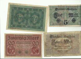 4 Billets Allemagne 1 De 50 Mark 1914 1 De 20 Mmark 1918 1 De 5 Mark 1917 1 De 20 Mark 1917 - Sin Clasificación