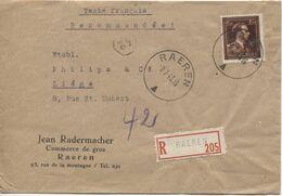 REF1815/ TP 695 Léopold III Col Ouvert S/L.Recommandée J.Radermacher Commerce De Gros Texte FR C.Raeren 9/7/45 > Liège - Belgium