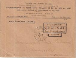 """ST - PIERRE Et MIQUELON : SOCIETE DES OEUVRES DE LA MER . OBL . GOUVERNEMENT """" P.P """" 0 30 . 30/06/1926 . - Lettres & Documents"""