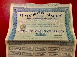 ENCRES  JOLY  ÉTABLISSEMENTS  A. LIEBER --------Action  De  500 Frs - Industrie