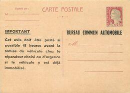 ENTIER POSTAL TSC Marianne De Decaris  Bureau Commun AUTOMOBILE - Standard Postcards & Stamped On Demand (before 1995)