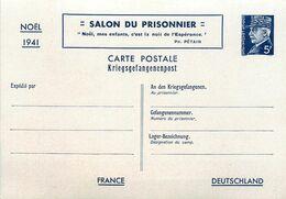 ENTIER POSTAL CARTE POSTALE SALON DU PRISONNIER NOEL 1941 Petain 5 Frs - Standard Postcards & Stamped On Demand (before 1995)