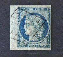 09 - 20 - France N°4 - Cérès 25c Bleu Avec Bord De Feuille - - 1849-1850 Cérès
