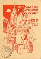 ENTIER POSTAL 1er CONGRES PHILATELIQUE DE L'OUEST MAMERS 1939  55cts Type Paix - Overprinter Postcards (before 1995)