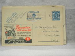 BELGIQUE - EP PUBLIBEL 501 MAGAZINE RECEPTEN VOOR DEZEN TIJD- OBLITERE FLAMME ANTWERPEN LOTERIJ SUR 50c 1943 - Werbepostkarten