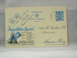 BELGIQUE - EP PUBLIBEL 503 IMMOBLIËN BEURS - OBLITERE SCHILDE RONDE SUR 50c 1943 - Werbepostkarten
