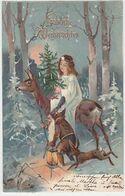 Fröhliche Weihnachten Mit Christkind Auf Reh Mit Zwerg & Hase - Goldperägelitho - 1904          (P-269-00215) - Christmas