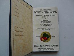 """AGENDA 1933 - ETS POLIET & CHAUSSON - Paris - CIMENTS - CHAUX - PLATRES  : Ciment PORTLAND Artificiel Marque """"COQ"""" - Books, Magazines, Comics"""