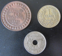 Tunisie - 3 Monnaies : 10 Cts 1912 A, 1 Franc 1921 Et 10 Cts 1938 Percée - Achat Immédiat - Tunisia