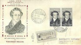 """9089 """"TERRITORIO LIBERO DI TRIESTE-28 GENNAIO 1952-150° ANNIVERSARIO DELLA NASCITA DI VINCENZO BELLINI """" - F.D.C."""