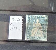 08 - 20 - Suisse - Strubel - Zumstein N° 23A - Signé Marchand - Cote : 110 FCH - 1854-1862 Helvetia (ongetande)