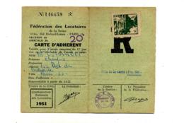 Carte Adherent 1951 Federation Locataire  Seine - 1950 - ...