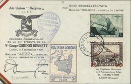 Air Union Belgica Par Avion Bruxelles Lwow Ballon Belgica Courrier Commémoratif 4e épreuve Ve Coupe Gordon Bennett - Poste Aérienne